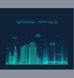 grand rapids skyline michigan usa linear vector image