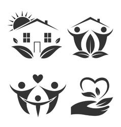 Green house logo set Happy family icon eco lover vector image