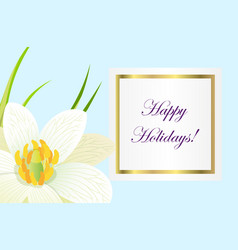 Greeting card with written wishes and narcissus vector