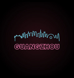 Guangzhou skyline neon style vector