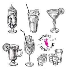 Hand drawn sketch set of alcoholic cocktails vector image