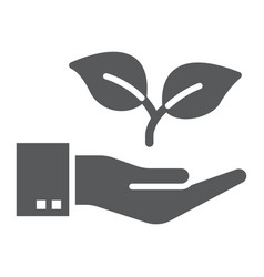 hand with plant glyph icon ecology and energy vector image