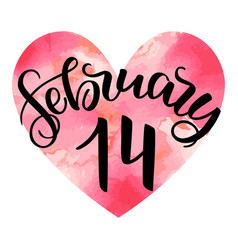 handlettering 14th february romantic vector image