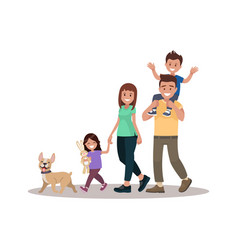 happy family walks around the city park father vector image