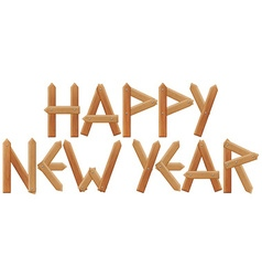 Happy new year inscription made from wooden boards vector image