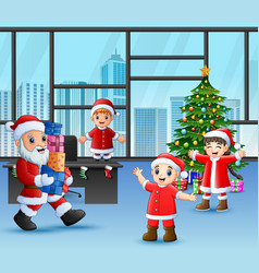 Happy santa claus holding a gifts for children vector