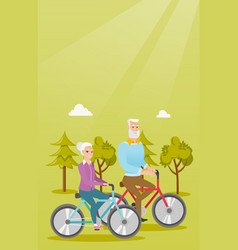 happy senior couple riding on bicycles in park vector image