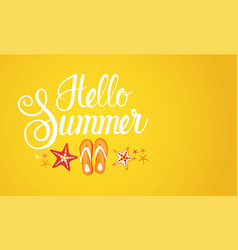 Hello summer season text banner abstract yellow vector