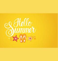 Hello summer season text banner abstract yellow vector