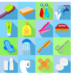 Hygiene icons set flat style vector
