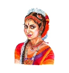 Indian woman portrait watercolor vector