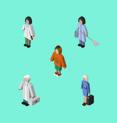 Isometric human set of hostess housemaid lady vector