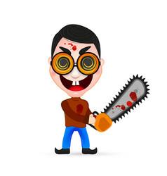 Killer wielding a chainsaw vector