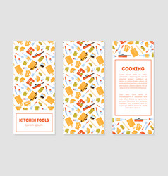 kitchen tools banner templates set with cooking vector image