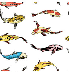 koi carps seamless pattern japanese fish korean vector image