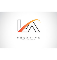 La l a swoosh letter logo design with modern vector