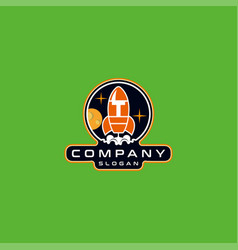 Letter t rocket logo design vector