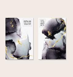 Liquid flow dark grey and gold design trendy vector