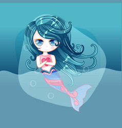 little cute mermaid with fishes and seashells vector image