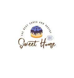 Logo cake house blueberry vector