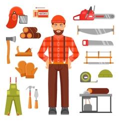 Lumberjack Decorative Flat Icons Set vector