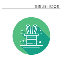 Magic trick icon rabbit in magician black hat vector