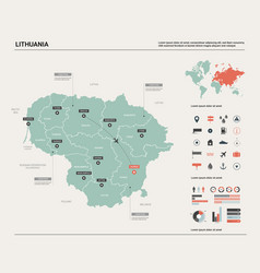 Map lithuania high detailed country map vector