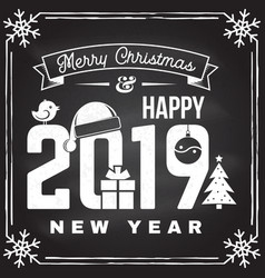 merry christmas and 2019 happy new year stamp vector image
