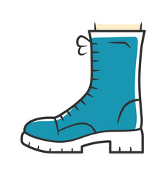 Military boots blue color icon women army rough vector