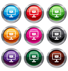 monitor with email sign set 9 collection vector image