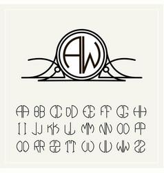 Monogram an art nouveau label with two letters vector