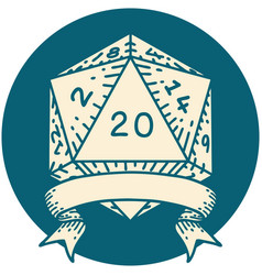 Natural 20 critical hit d20 dice roll vector