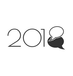 new 2018 year with chat bubbles vector image