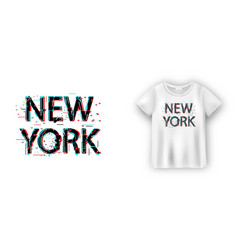 New york typography in glitch effect for t-shirt vector