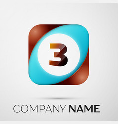 number three logo symbol in the colorful square on vector image