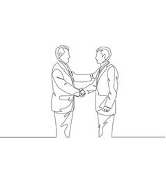 one line drawing businessmen handshaking his vector image