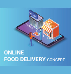 online food delivery concept isometric artwork vector image