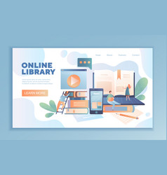 Online library web template design vector