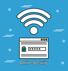 Online security acount password and wifi vector