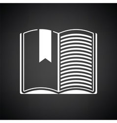 Open book with bookmark icon vector