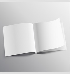 Open book with page curl mockup template design vector