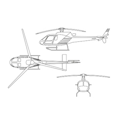 Outline drawing of helicopter on white background vector image