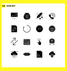 Pack 16 creative solid glyphs receiver call vector