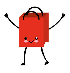 Paper shopping bag kawaii character vector