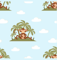 pattern with monkey on blue background vector image
