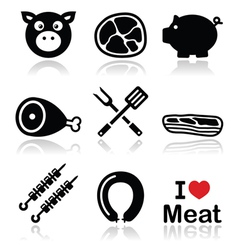 Pig pork meat - ham and bacon icons set vector image