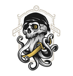 pirate skull with tentacles octopus vector image