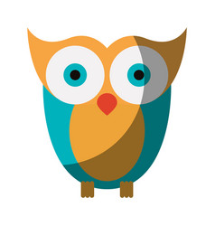Realistic colorful shading image of owl bird vector
