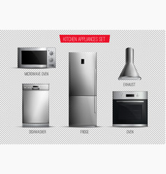 realistic kitchen appliances transparent set vector image