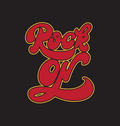 Rock on handwritten lettering made in 90s style vector